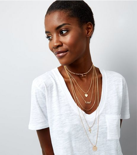 Gold Layered Chain Charm Drop Choker | New Look