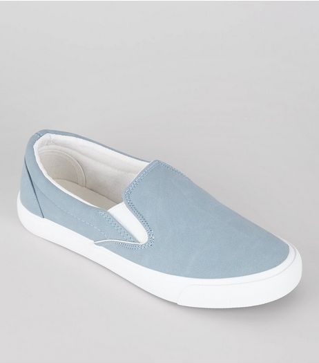Pale Blue Contrast Trim Slip On Plimsolls | New Look