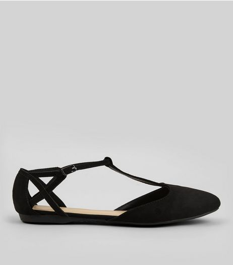 Black Suedette Cross Strap Side Pumps | New Look