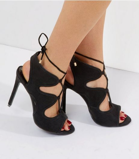 Black Suedette Lace Up Metal Trim Heels | New Look