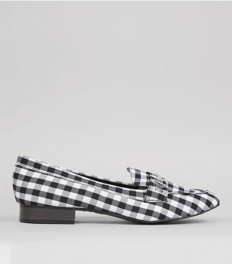 Black Gingham Loafers | New Look