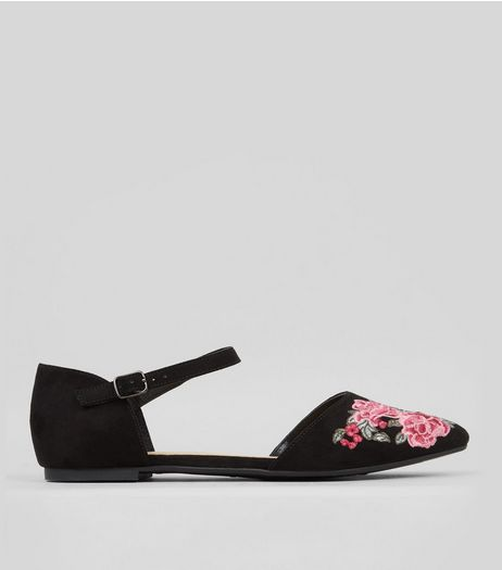 Black Floral Embroidered Pointed Ankle Strap Shoes | New Look