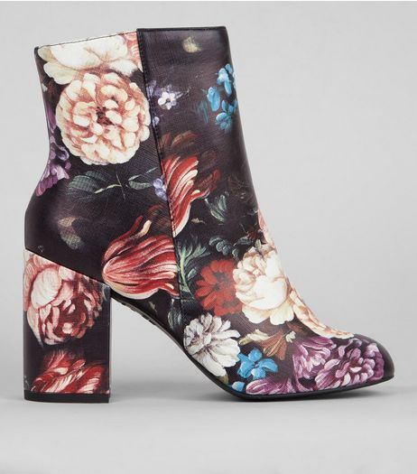 Black Floral Print Heeled Boots | New Look