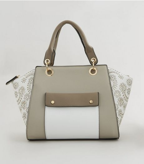 White Floral Detail Pocket Front Bowler Bag | New Look