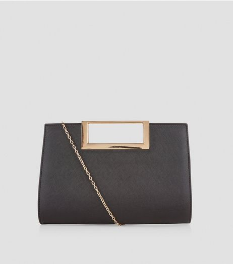 Black Metal Trim Handle Clutch Bag  | New Look