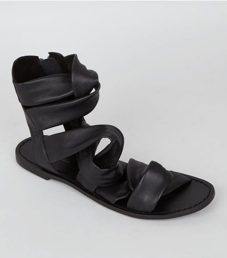 Black Leather Strappy Knot Front Sandals | New Look
