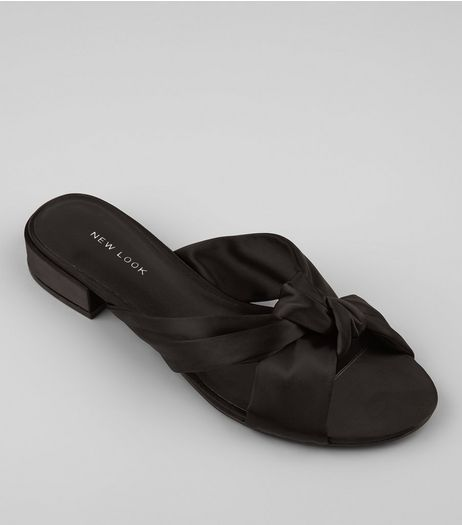 Black Satin Knot Front Mules | New Look