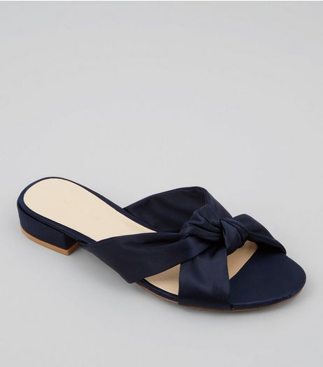 Navy Satin Knot Front Mules | New Look