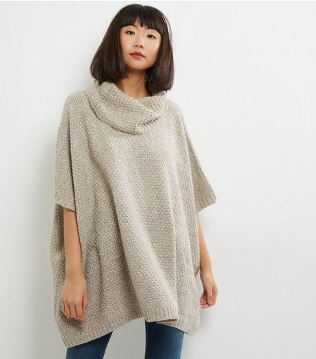 QED Cream Turtle Neck Poncho | New Look