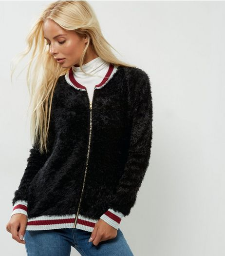 QED Black Fluffy Stripe Hem Cardigan  | New Look