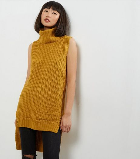 QED Yellow Cowl Neck Sleeveless Tunic  | New Look