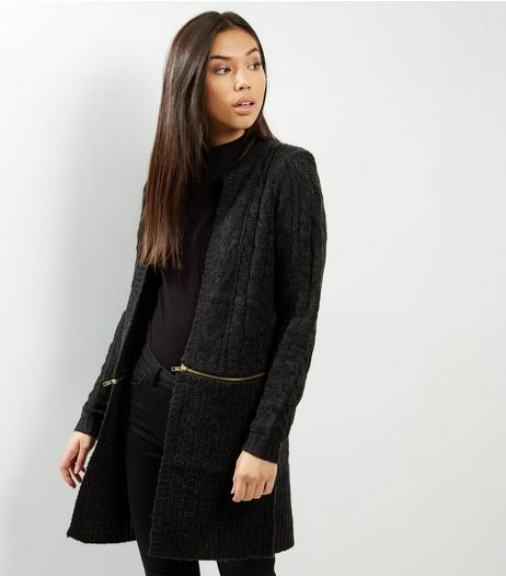 QED Black Cable Knit Zip Trim Cardigan | New Look
