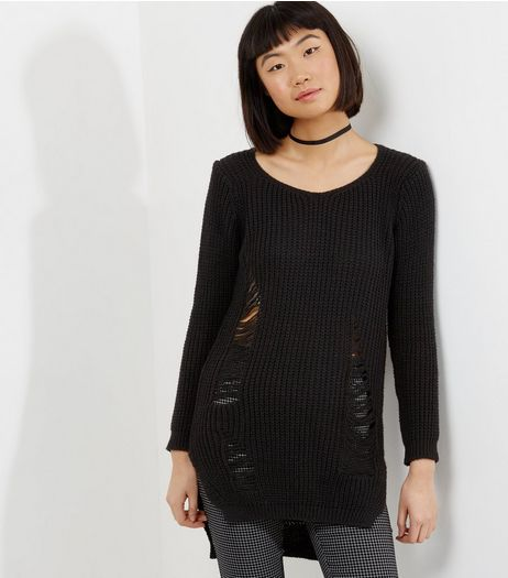 QED Black Ribbed Ladder Ripped Jumper  | New Look