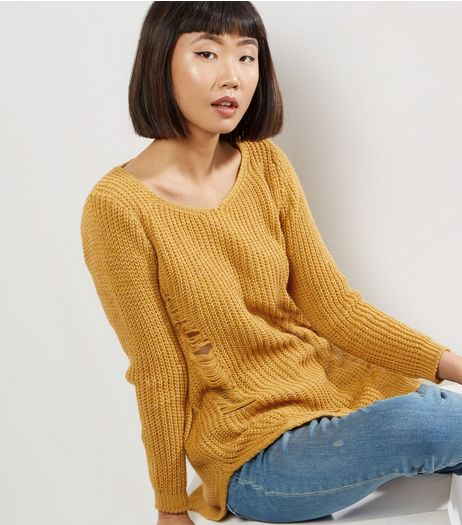 QED Yellow Ribbed Ladder Ripped Jumper  | New Look