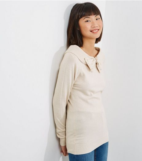 Blue Vanilla Cream Bow Front Jumper  | New Look