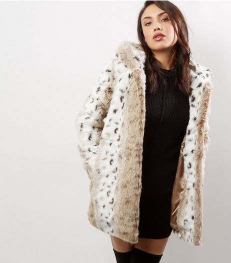 Blue Vanilla Faux Fur Leopard Print Coat | New Look