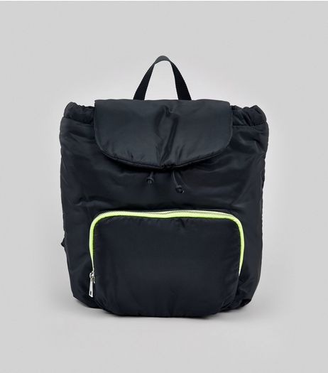Black Neon Zip Backpack | New Look