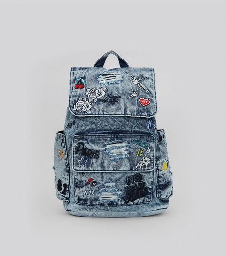 Denim Blue Graffiti Backpack | New Look
