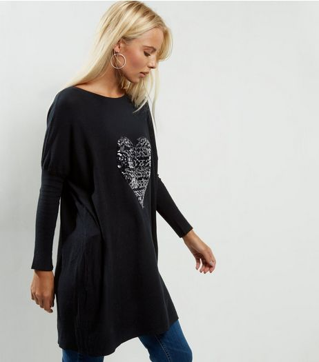 QED Black Sequin Heart Jumper | New Look