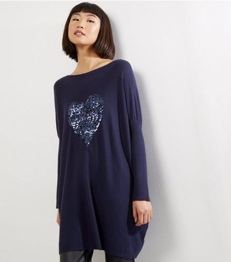 QED Navy Sequin Heart Long Sleeve Jumper  | New Look