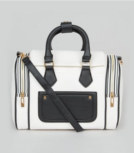 White Pocket Front Sporty Bowler Bag | New Look