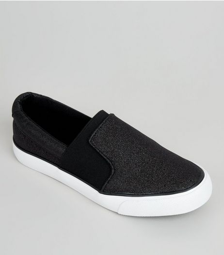 Teens Black Glitter Plimsolls | New Look