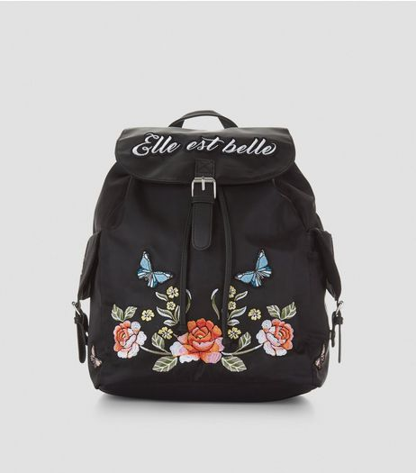 Black Elle Est Belle Embroidered Backpack | New Look
