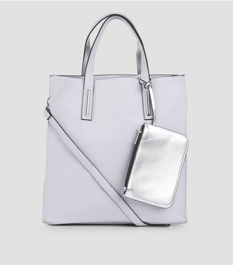 Lilac Metallic Trim Tote Bag | New Look