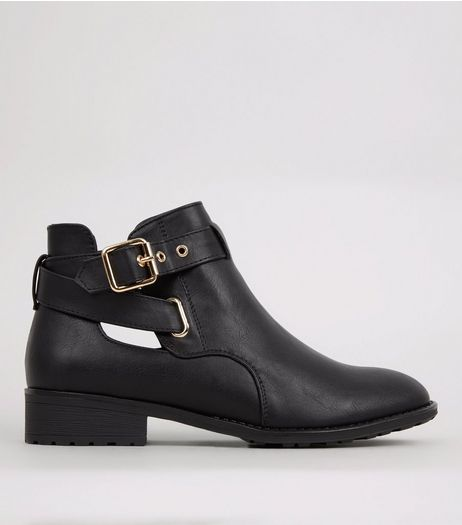 Teens Black Cut Out Side Ankle Boots | New Look