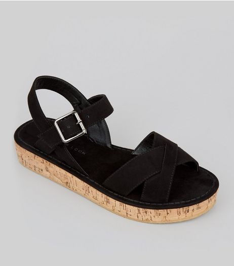 Teens Black Suedette Cross Front Cork Sole Sandals | New Look