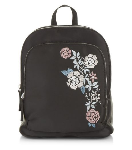Black Floral Embroidered Backpack | New Look