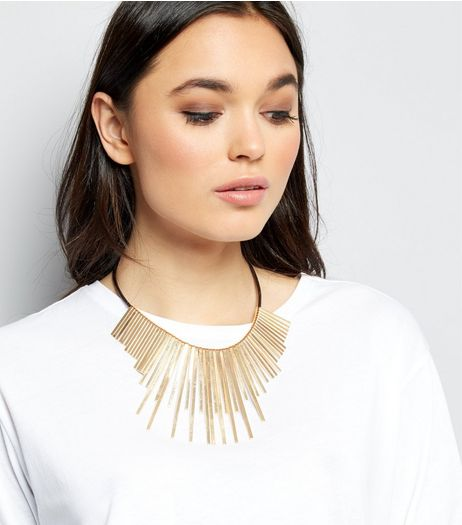 Gold Staggered Bar and Rope Necklace | New Look