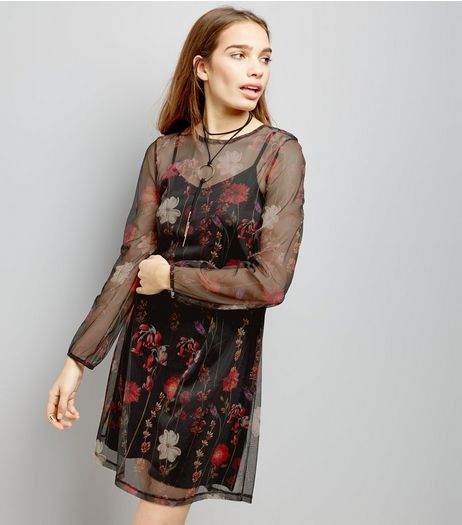 Black Floral Print Mesh Overlay Tunic Dress | New Look