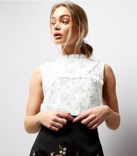 White Lace Frill Trim High Neck Top | New Look