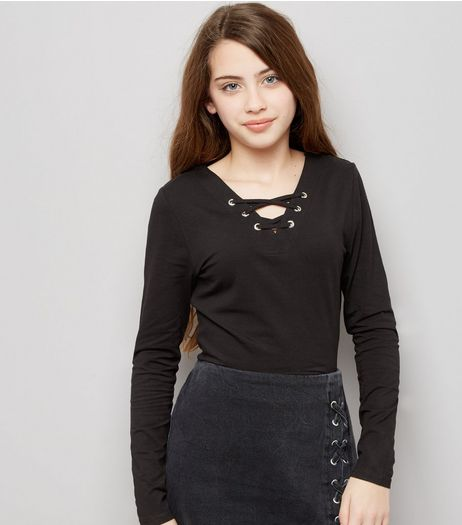 Teens Black Eyelet Lace Up Long Sleeve Top | New Look