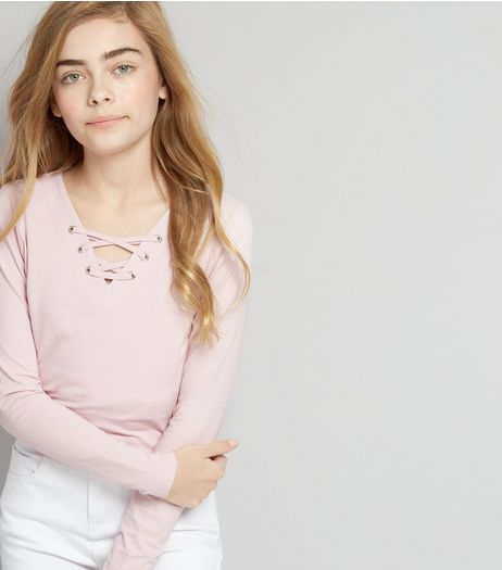 Teens Lilac Eyelet Lace Up Long Sleeve Top | New Look