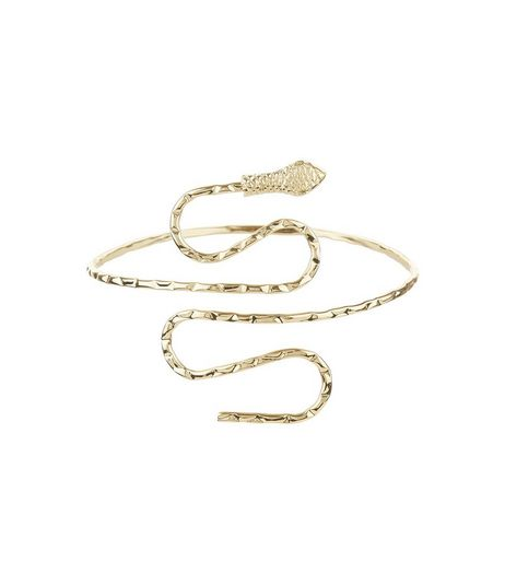 Gold Textured Snake Arm Cuff | New Look