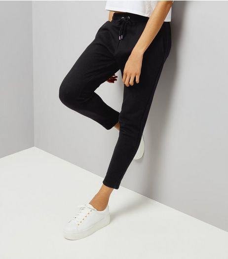 Black Tapered Jogging Bottoms | New Look