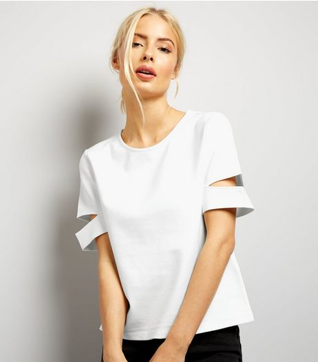 Cream Cut Out Sleeve T-Shirt | New Look