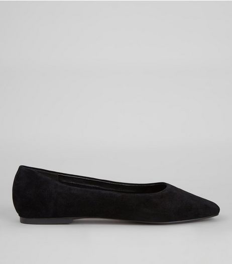 Black Suede Square Toe Pumps | New Look