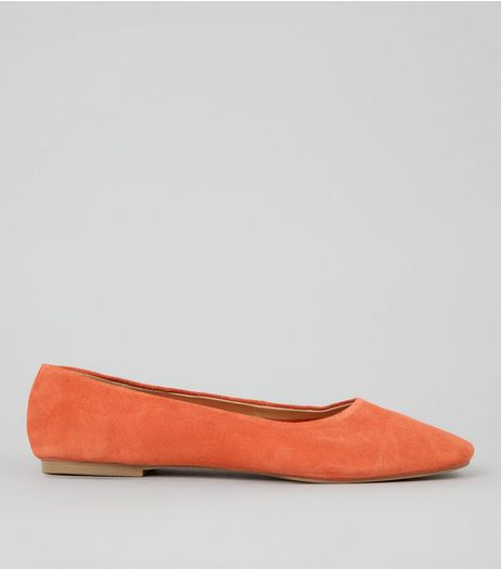 Orange Suede Square Toe Pumps | New Look