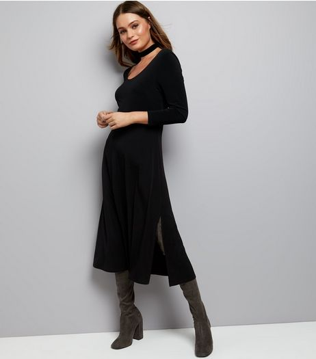 Black Jersey Long Sleeve Midi Skater Dress | New Look