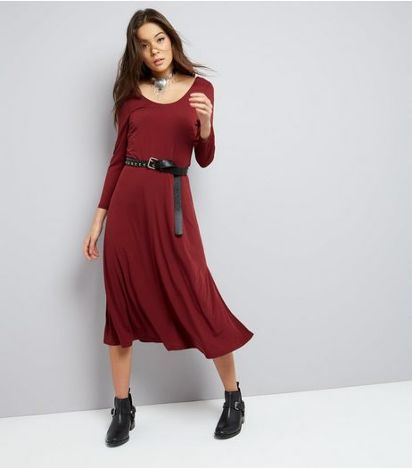 Burgundy Long Sleeve Skater Midi Dress  | New Look