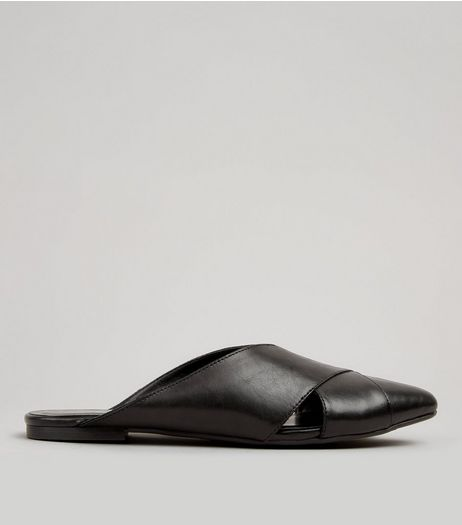 Black Leather Cross Strap Pointed Mules | New Look