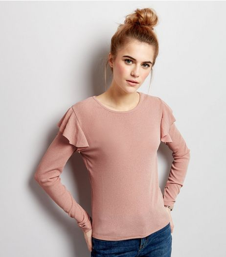 Pink Crepe Frill Shoulder Top | New Look
