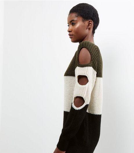 Loving This Green Colour Block Cut Out Sleeve Jumper | New Look
