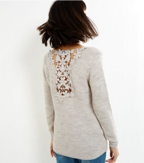 Loving This Cream Floral Lace Back Jumper | New Look