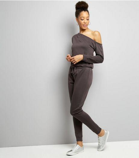 Dark Grey Off The Shoulder Lounge Jumpsuit  | New Look