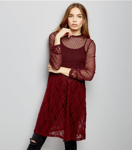 Burgundy Mesh Long Sleeve Midi Skater Dress | New Look