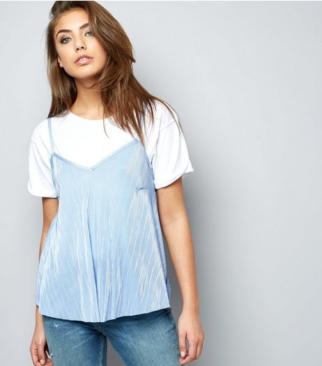 Carpe Diem Pale Blue Pleated Cami Top  | New Look